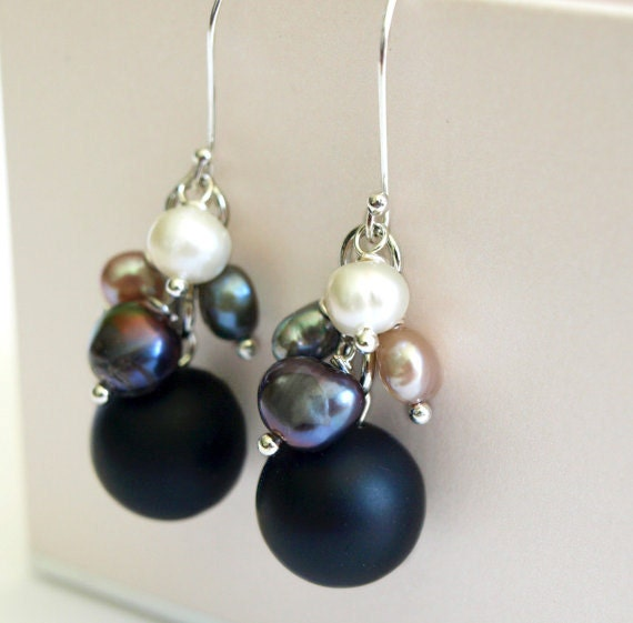 SALE-Pearl Cluster Earrings with Black Onyx