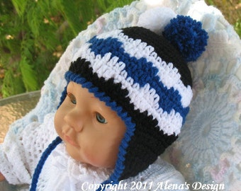 Crochet Pattern 006 - Crochet Hat Pattern- Hat Crochet Pattern for Pom-Pom Ear-flap Hat - Baby Toddler Children Adult Winter Hat Christmas