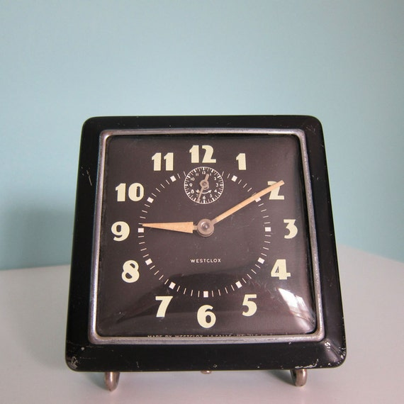 Vintage Westclox Alarm Clock Black Art Deco 1940's