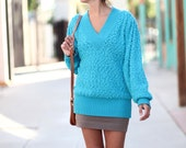 Bright Turquoise Ribbed Oversized Vneck Sweater - Turquoise Tantrum