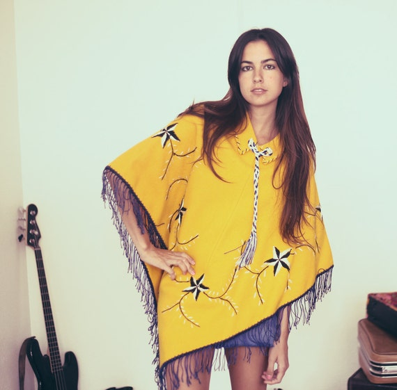 Bright Yellow Blue Black Striped Star Fringe Tassle Hippie Hipster Poncho - Yellah