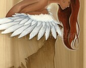 "Fine art print ""Sweet Jane, Still Falling"" Angelic Girl with Angel Wings by Carolina Lebar - 5"" x 7"" Fine Art Print"