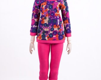 Outfit: Flowers Shirt and Pink Leggings, for MSD BJD / Obitsu body 1/3 (47 cm/18,5 in)