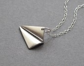 Paper plane necklace, sterling silver chain, origami aeroplane pendant, modern minimalist jewelry