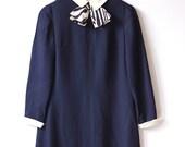 navy blue mod collar dress / vintage 60s bow mini