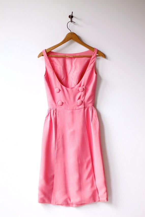 1960s vintage hot pink button mini dress