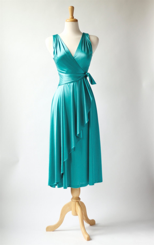 1970s vintage turquoise disco dress