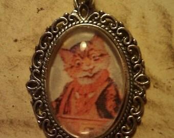 SALE: Retro Cat Portrait Pendant