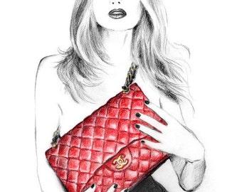 Fashion illustration art print - I love my Chanel handbag