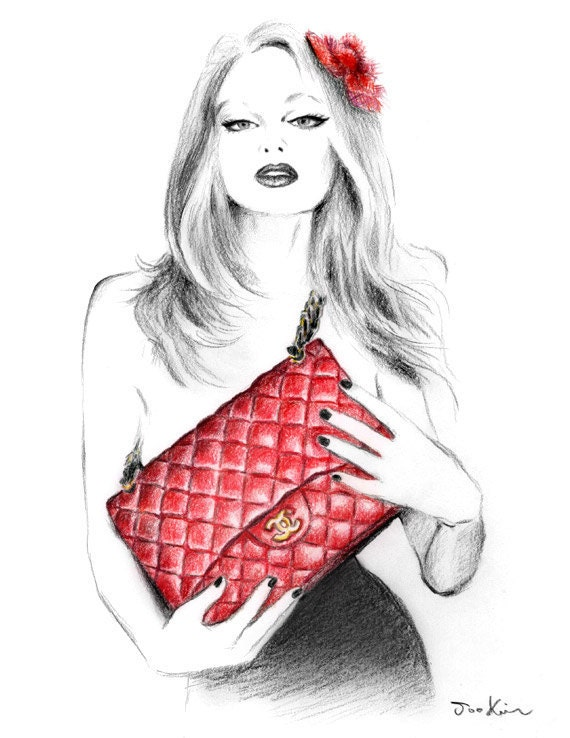 Fashion illustration art print - I love my Chanel handbag