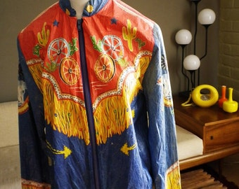 Collectible Vintage 70s 1970s TEXAS Paper Jacket TRASHY & TRASHED Like Paper Dress Printed Southwest Cowboy Western Wear Printed Fringe M L