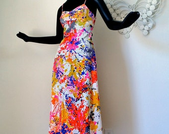 MOD  Maxi Dress or Nightie Abstract Jackson Pollack esque Splatter Sexy Groovy Vintage 70s 1970s Hippie Night Gown Spaghetti Strap Gown S M