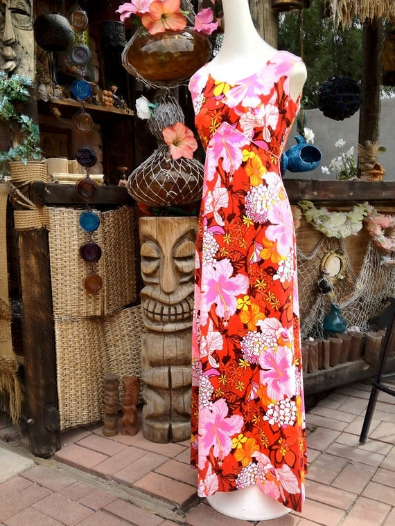 Vintage 60s 70s Hawaiian Dress Maxi Tiki Aloha Dress Hippie Style Red Pink Flowers 1960s 1970s Barkcloth Tapa Cloth Sexy Empire Waist Gown