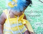 Vintage Inspired Yellow & Blue Petti Lace Romper with Shoulder Straps  Ready to SHIP - Unikbaby
