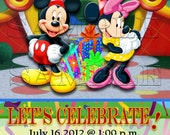 Disney Mickey and Minnie Mouse - Personalized Birthday Ticket Invitation - Mickey Mouse, Minnie Mouse
