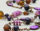 Willy Wonka Necklace - Purple Stone Fuchsia Shell Chocolate Brown Sea Glass Antique Copper Beaded Necklace- Long Fun Playful