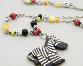 SALE - Yipes Stripes - Colorful Handpainted Gourd Cute Fun Black White Stripe Zebra Pendant Necklace - Inspired by Gum of Yesteryear