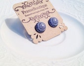 Mosaic Blue Geometric Earrings, Vintage Cabochon Studs, Navy Blue & White Boho Chic Post