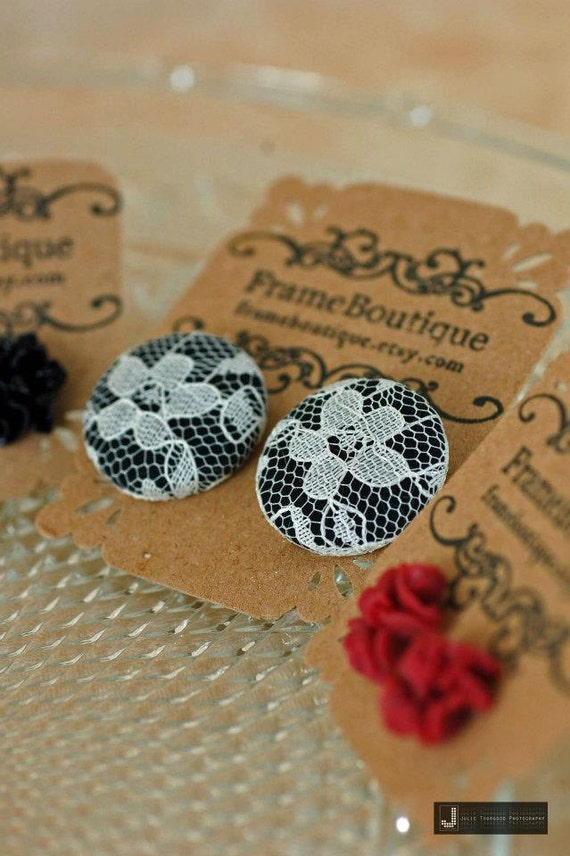 Oversized Black Lace Earrings, Button Black & White Studs