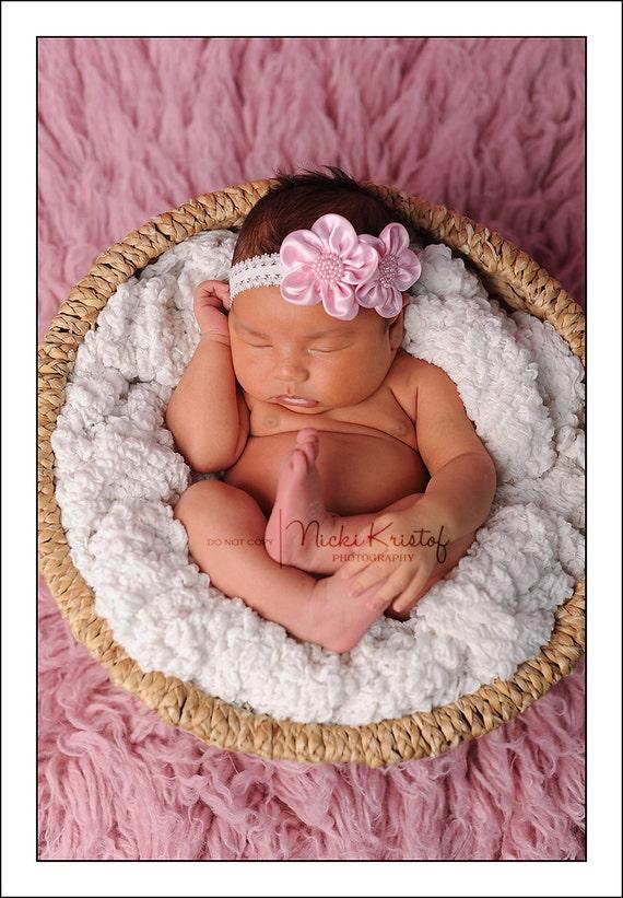 Newborn Pink Satin Flower Headband, soft elastic, newborn headband, photo, bebe, foto, baby shower gift by Lil Miss Sweet Pea