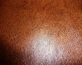 """Leather 20""""x20"""" Shiny Marbled Brandy / Chestnut Brown Grain Cowhide Hide PeggySueAlso"""