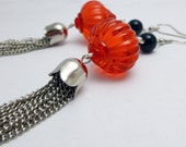 Red Lantern Tassle Earrings, tassle jewelry, silver chains, silver earrings, black agate