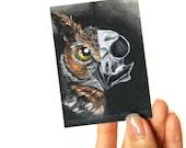 Owl Print, ACEO Art Card, Bird Skull, Halloween Artwork, Great Horned Owl, Bird of Prey, Animal Illustration, Goth Decor