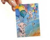 Flying Pig Print, ACEO Art Card, Rainbow Balloons, Farm Animals, Baby Pigs, Piglet Picture, Kids Room Art, Childrens Illustration