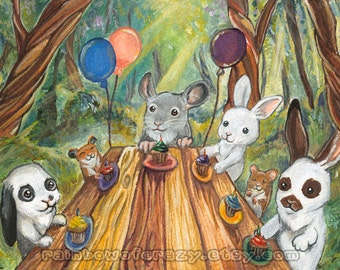 Birthday Party Art, Woodland Creatures, Forest Animal Nursery Decor, Chinchilla Print, Hamster Poster, Bunny Rabbit, Pet Owner Gift Any Size