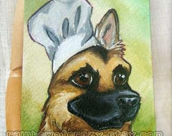 SALE: German Shepherd Original Art, Chef Hat, Miniature Painting, Pet Portrait, Small Decor, Acrylic Painting, Dog Lover Gift