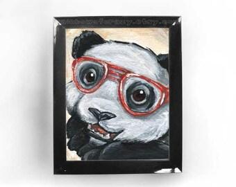 Cute Panda Bear Art, Any Size Print, Nursery Decor, Red Glasses, Nerd Love, Geeky Wall Art, Zoo Animal Lover Gift