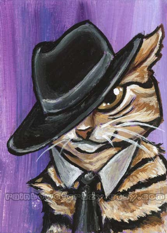 Cat Print, Homburg Hat, Pet Portrait, Cat Lover Gift, Large Wall Art, ACEO Card, Black and Purple