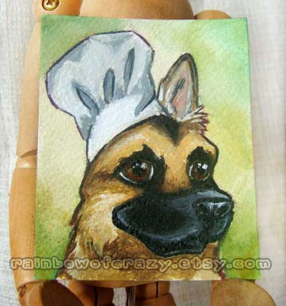 Dog Art, Miniature Painting, German Shepherd, Pet Portrait, Chef Hat, Acrylic Painting, Original Art
