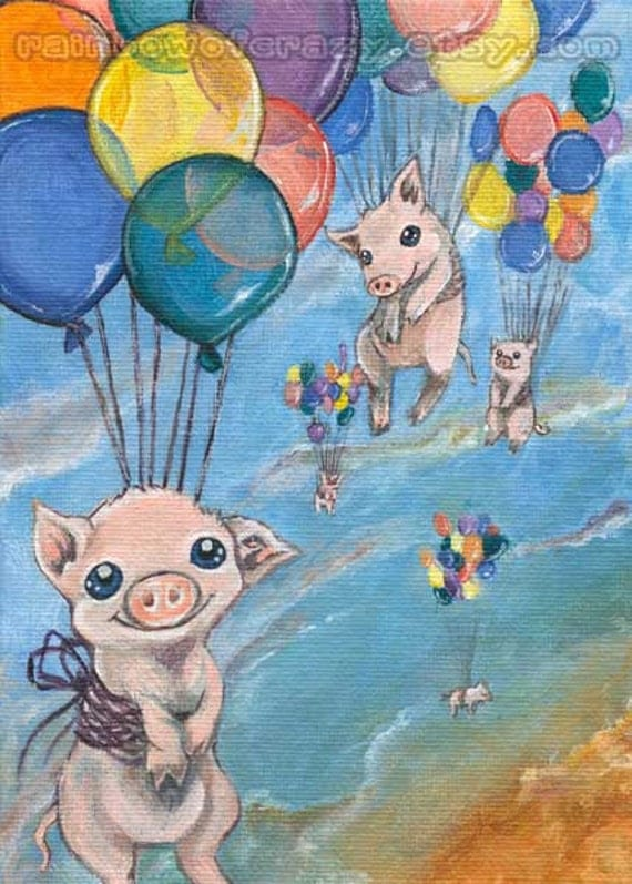 Flying Pigs Art Print, Rainbow Balloons, 5x7 Wall Art, Floating Pigs, Animal Illustration, Cute Pig Decor