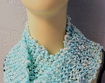 SKY BLUE Hand-knit Silky Scarf, Feminine, Eternity Circle - silky yarn - yummy
