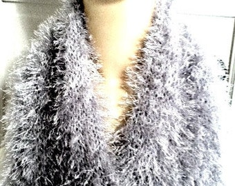 SILVER FOX - Hand-knit Faux Fur Scarf - Soft, Sparkly, Evening Glamour