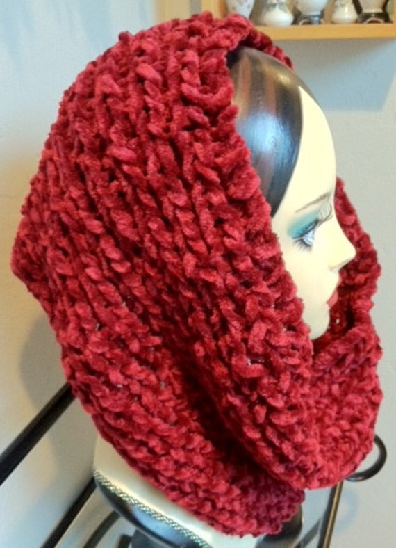 Drop Dead DEEPEST RED Hand-knitted Eternity, Circle Scarf, Cowl (warm, thick, cozy)