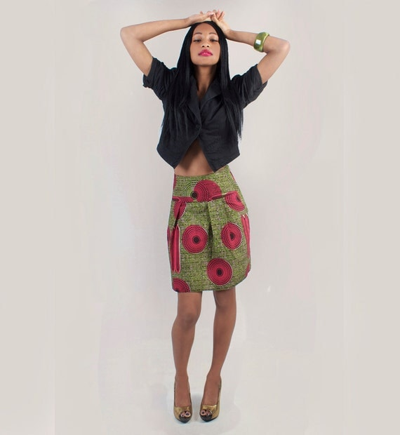 Red & Green African Print Pleat Skirt - available in 4 sizes