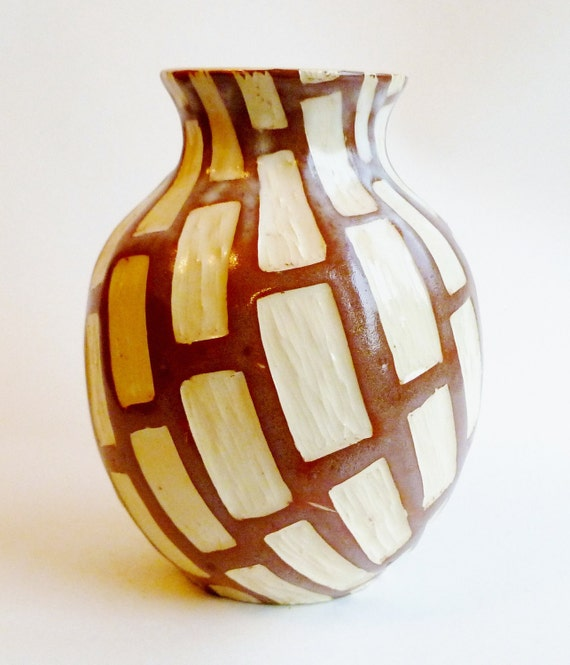 Carved Ceramic Vase Brown and White Rectangles Houseware