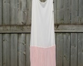 SALE -- 1950's - 1960's VINTAGE two-toned PLEATED slip dress
