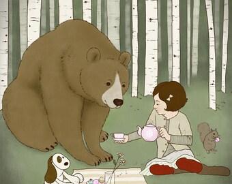 "Art Print, 8x10, Children's Illustration, ""Tea Party"", Kid's Room Wall Art, Brown Bear Illustration"