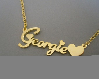Personalized Gold Name Necklace with Design B