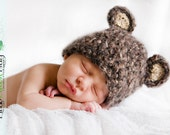 READY Baby Boy Hat  - Baby Bear Hat  - Baby Hat Made with Soft Mohair Blend Yarn - 0-3, 3-6 and 6-9 months