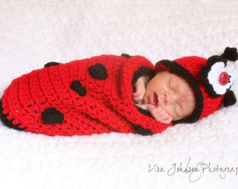 Baby Girl Hat - Adorable Lady Bug Baby Cocoon and Hat with Flower Clip & Super Cute Lady Bug Button Accent