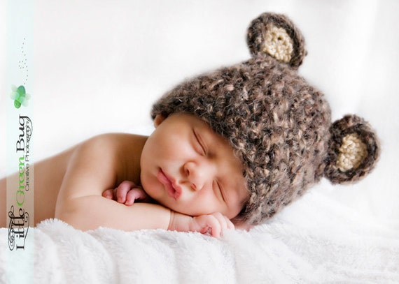 Newborn Baby Soft Teddy Bear Hat Cap - Made with Soft Mohair Blend Yarn