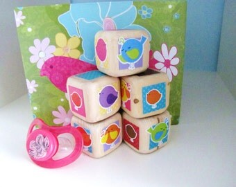 Wooden baby blocks. Wood toy. Unique Kids gift. Stacking toy. Colorful nursery decor.  Baby Shower Decoration. LITTLE BIRDS.
