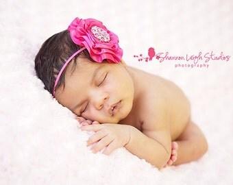 Pink Newborn Headband Hot Pink Headband Baby Bows Baby Girl Bows Baby Headbands Baby Girl Headbands Pink Baby Headbands Newborn Photo Prop