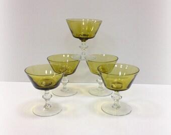 Mid Century Green Champagne Dessert Glasses