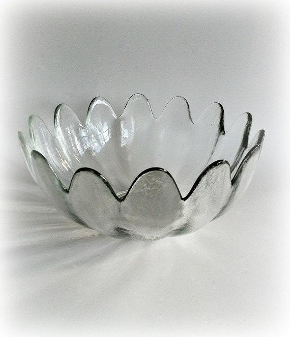 Vintage Blenko Clear Glass Petal Bowl