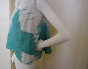 Vintage Early '90s Teal and White Tie Dye Batik Sheer CROPPED TANK TOP